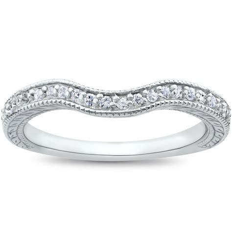 vintage curved diamond contour wedding ring  engagement