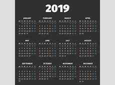 Basit 2019 Yılı Takvimi premium clipart ClipartLogocom