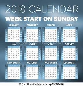 Simples, calendário, 2018, ano Semana, simples, começa