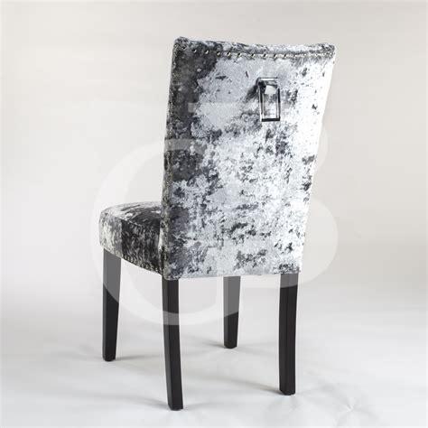 pair of new upholstered premium grey crushed velvet dining
