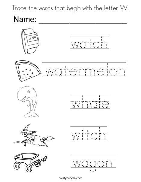 trace  words     letter  coloring page twisty noodle letter  worksheets