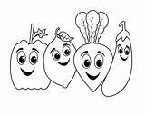 Coloring Vegetable Pages Cartoon Preschoolers Toddlers sketch template