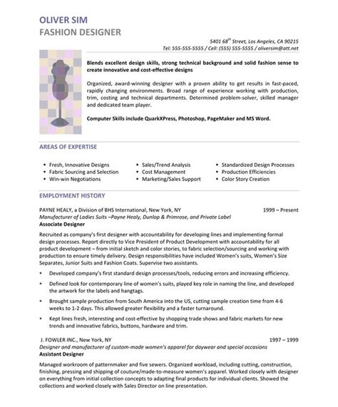fashion designer free resume sles blue sky resumes