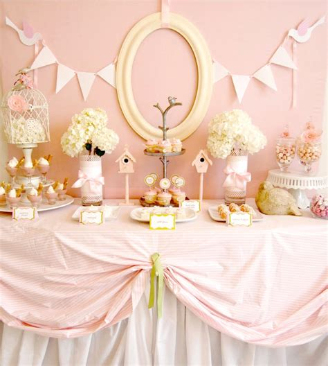 baby shower table pink birdie baby shower guest feature celebrations at home
