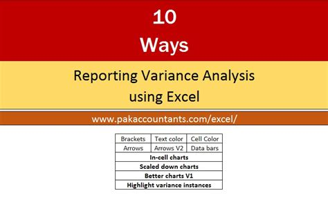 ways   excel variance reports  charts