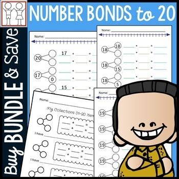 bundle number bonds to 20 worksheets by catherine s tpt