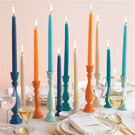 colorful candle holders   martha stewart weddings