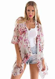 Lookbook Store Women's Beach White Floral Crop Sleeves ...