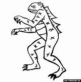 Coloring Yeti Lizard Designlooter sketch template