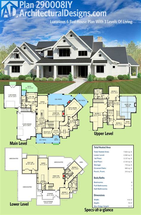 Plan 290008IY: Luxurious 6 Bed House Plan With 3 Levels Of