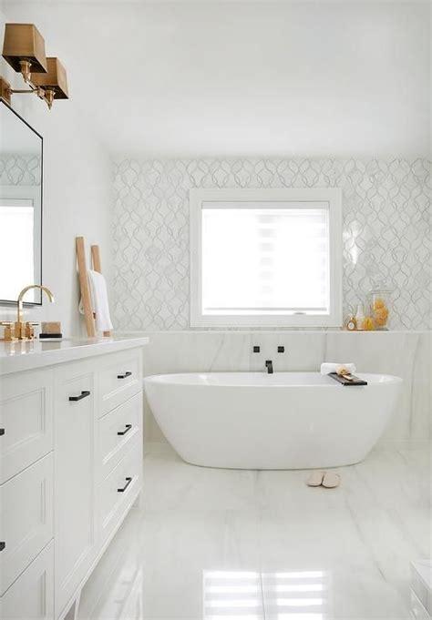 marble bathtub ledge bathroom freestanding
