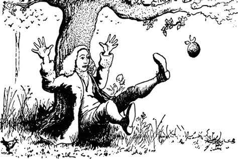 Apple Falling On Isaac Newton Coloring Page