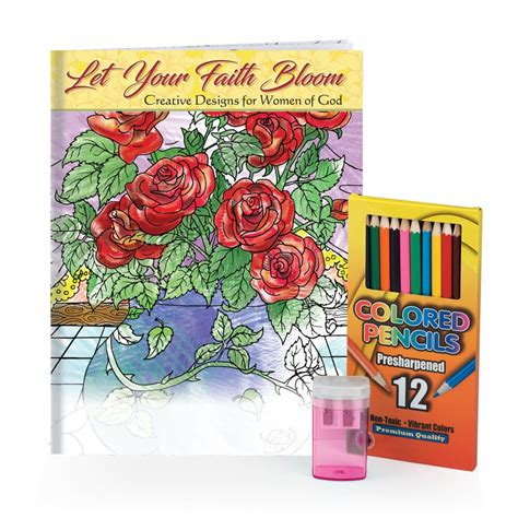 adult coloring book gift set let your faith bloom adult coloring book pencils