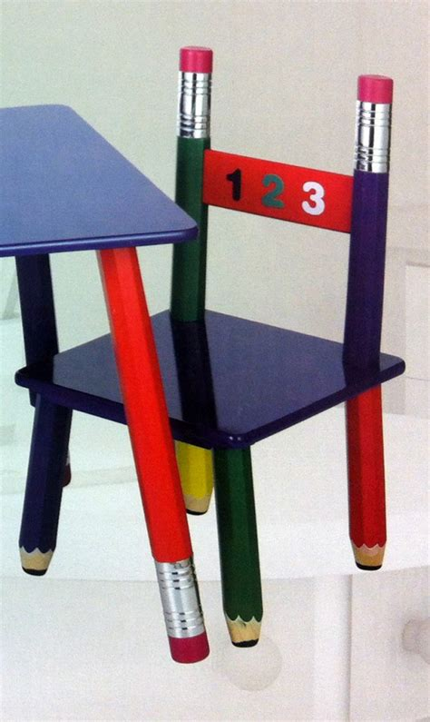 table and chair pencil design childrens wooden