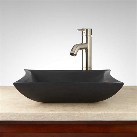 Mauna Lava Stone Square Vessel Sink Bathroom