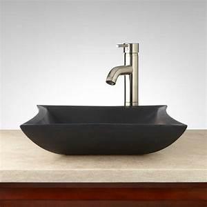 Mauna Lava Stone Square Vessel Sink - Bathroom