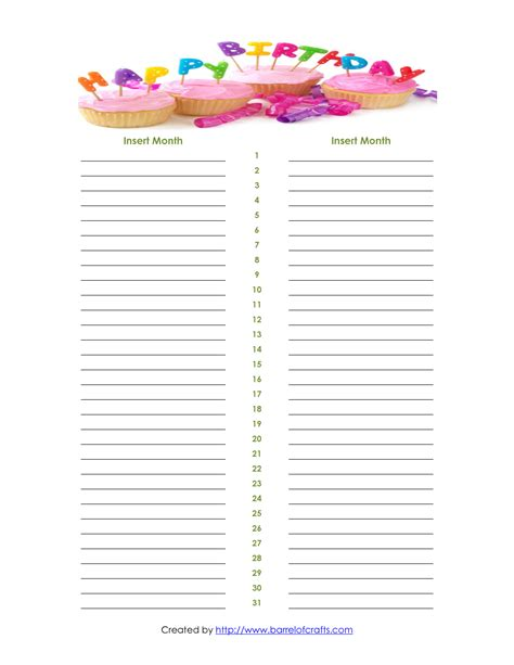 birthday list template 8 best images of printable monthly birthday list templates free printable birthday calendar