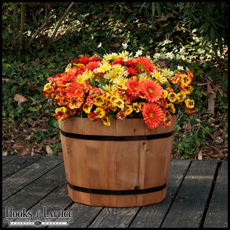 wine barrel planters 18 quot cedar half wine barrel planter