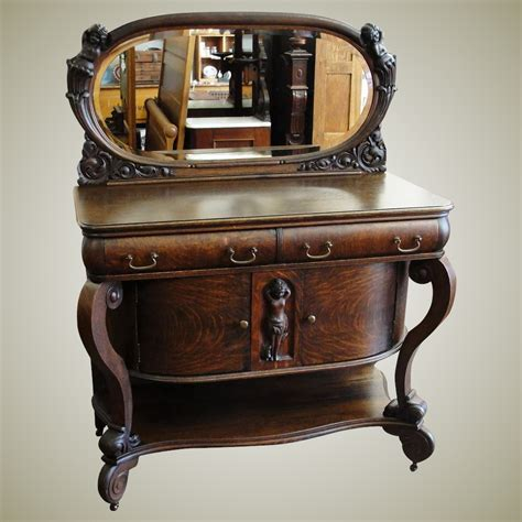 Oval Sideboard by Quarter Sawn Oak Sideboard With Oval Mirror And Cherubs