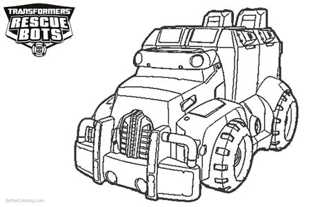 transformers rescue bots coloring pages car