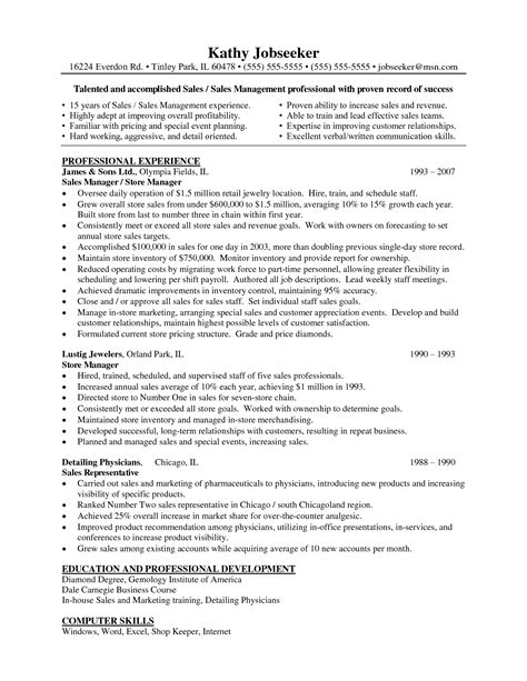 Resume Templates For Retail Management by Resume Exles For Retail Store Manager Sle Cover