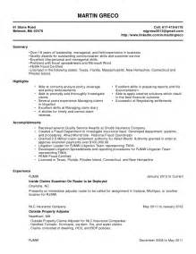 resume objective exles for insurance adjuster martin greco resume 2 3 1