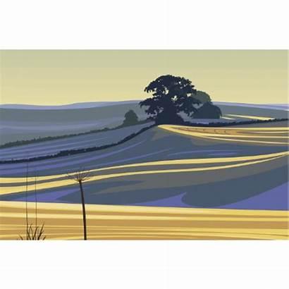 Screen Silk Landscape Shadows Printing Prints Signed