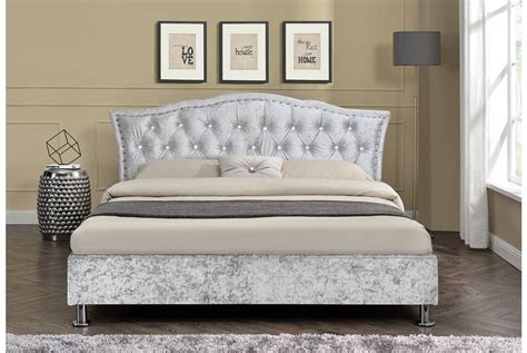 King Platform Bed With Fabric Headboard by Georgio Crushed Velvet Silver Bed Frame Double Or King