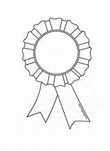 Award Coloring Rosette Template Ribbon Medaille Kleurplaat Colouring Rosettes Templates Sheets Outline Clipart Clip Awards Colors sketch template
