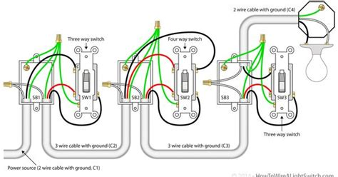 4 way switch with power feed via the light switch how to