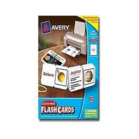Avery Custom Print Flash Cards Punched Avery Custom Print Flash Cards Matte Coated Cards White 3
