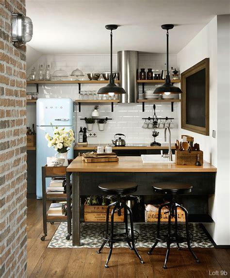 deco cuisine style industriel esprit loft avec murs de briques apparentes