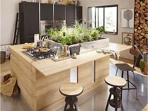 a la decouverte de l39ilot central de cuisine elle decoration With meuble ilot central cuisine 1 petit ilot central de cuisine cuisine en image