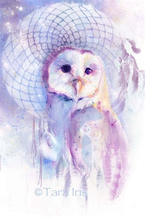 Watercolor Owl Tattoo dreamcatcher barn owl watercolor print 504 x 756 · jpeg