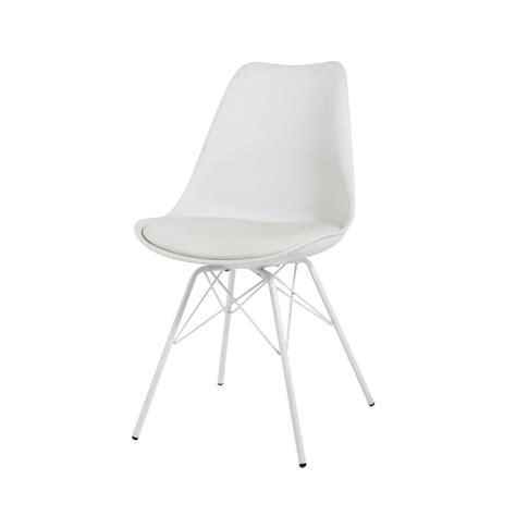 chaise blanche en polypropylene  metal blanc coventry maisons du monde