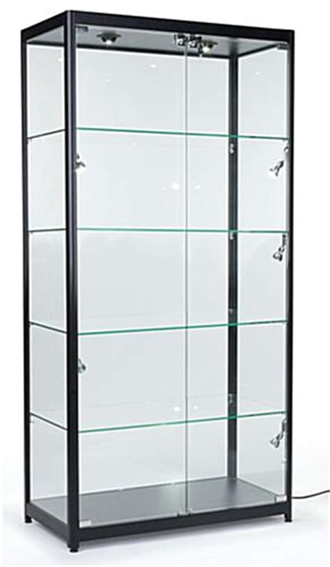 glass cabinet lighting locking showcase black frame melamine showcase 1224