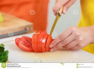Woman Preparing Vegetables Salad Slicing Tomato Stock ...