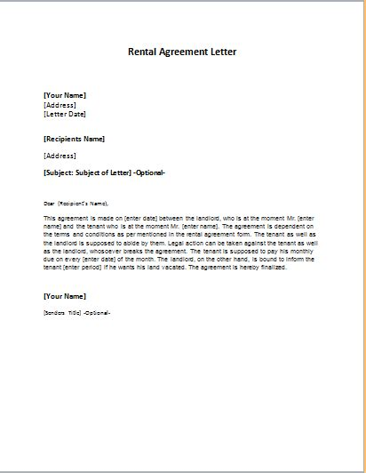 rental agreement letter rental agreement letter template word excel templates 15480