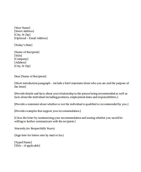 writing a reference letter 7 personal reference letter sle sle templates 25825