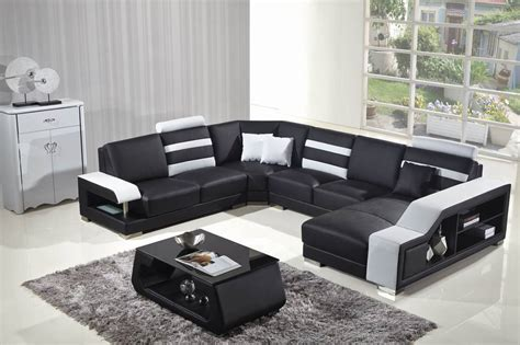 sofá em u sweden style 5 seat black leather living room love sofa