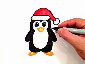 How to Draw a Penguin with a Santa Hat - YouTube