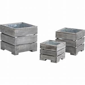 Cache Pot Bois : cache pot en bois vieilli et zinc jcp348s aubry gaspard ~ Teatrodelosmanantiales.com Idées de Décoration
