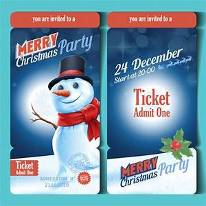 merry christmas party ticket template vector vector card With christmas party tickets templates free
