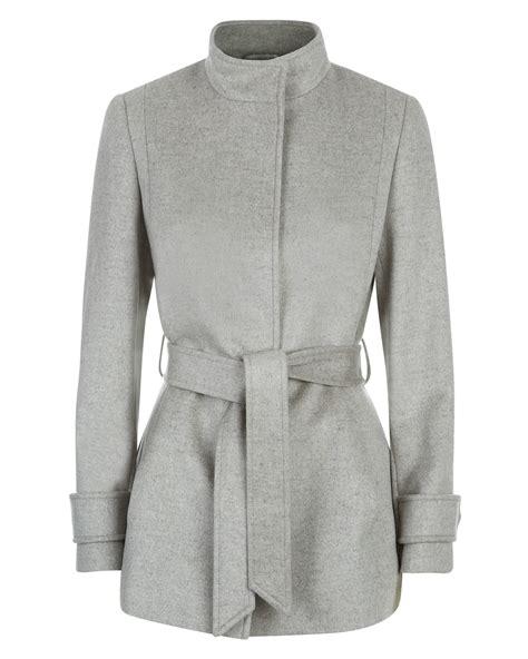 light grey wool jaeger wool funnel neck coat in gray light grey lyst