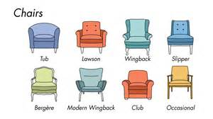 types of chairs and sofas types of living room furniture