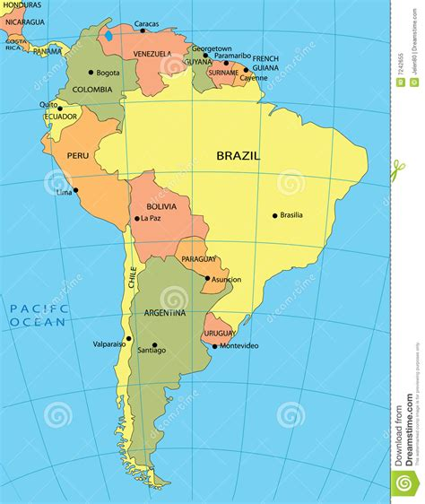 america pics political map of south america royalty free stock photo image 7242655