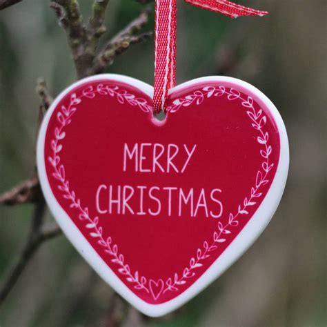 personalised heart christmas tree decoration  livi