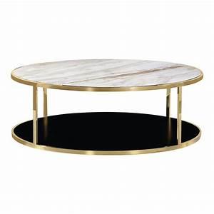 Grande Table Basse Ronde : table basse ronde or luxor avec dessus en marbre blanc tables basses ~ Teatrodelosmanantiales.com Idées de Décoration