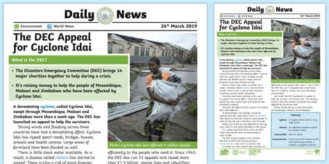 Free!  * New * Uks2 Dec Cyclone Idai Appeal Daily News Story