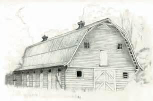 Old Barn Pencil Drawing Sketch